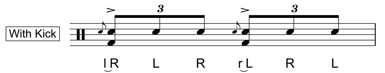 Snare drum flam accent