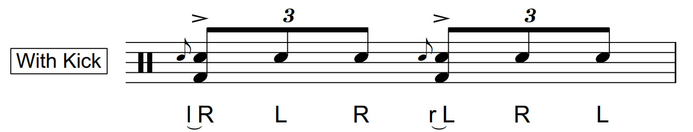 flam accent with kick drum