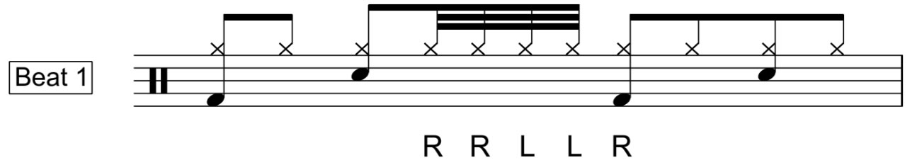 Five stroke roll on snare
