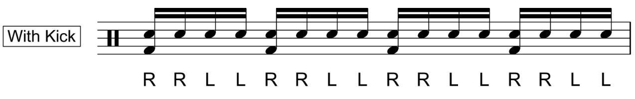 Double stroke roll with bass drum